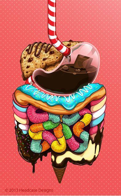 fondo de pantalla, anatomia, aparato digestivo, arte y comida