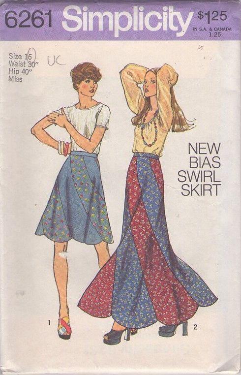 MOMSPatterns Vintage Sewing Patterns - Simplicity 6261 Vintage 70's Sewing Pattern ULTIMATE Hippie Bohemian Bias Swirl Skirt, Contrast Patchwork Swirling Hem Mini or Maxi