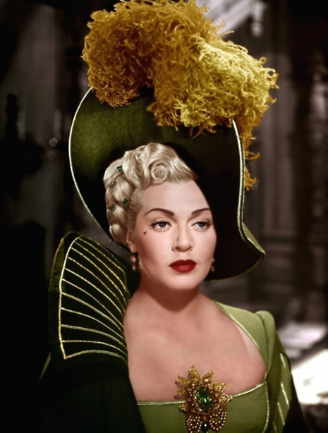 "Lana Turner as Lady de Winter in ""The Three Musketeers"" (1948). Costume design by Walter Plunkett and cleavage pin by Joseff Hollywood"