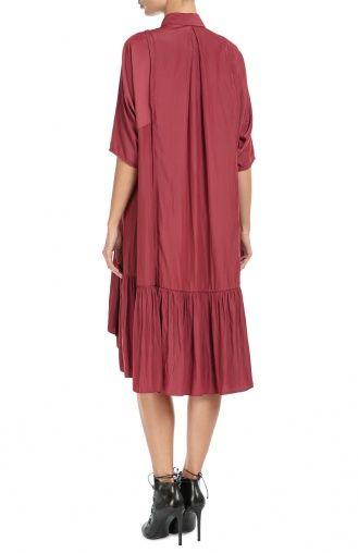 Женское розовое платье-рубашка асимметричного кроя с укороченным рукавом Lanvin, сезон FW 16/17, арт. RW-DR2006-2638-A16 купить в ЦУМ | Фото №4