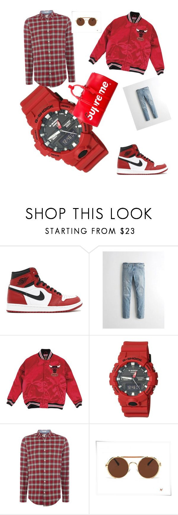 """go to court😎😎"" by peitl-pas ❤ liked on Polyvore featuring NIKE, Hollister Co., Mitchell & Ness, G-Shock, Original Penguin, Supreme, men's fashion and menswear"