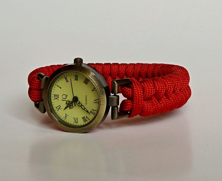 vintage looking watch with DIY paracord fishtail strap