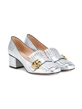 a566983fd8c9 Gucci Silver Marmont Mid Heels