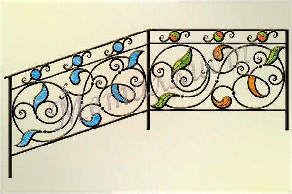 Перила кованые с витражом или цветным стеклом. Витраж в стиле тиффани / цветное стекло.  Индивидуальная проработка рисунка и цветового решения.цена: от 18130 руб.<sup>*</sup>