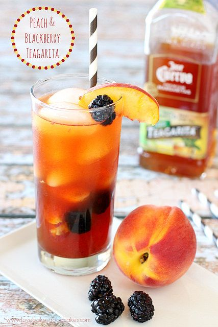 Jose Cuervo Iced Teagarita consists of the classic lime flavored margarita, blended with Jose Cuervo Tequila and premium orange liqueur, then combined with refreshing iced tea. It's perfect for making this Peach and Blackberry Teagarita! #CuervoTeagarita #ad