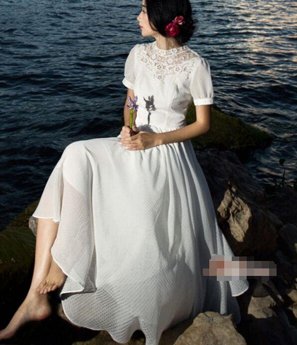 Бесплатная доставка высокое качество элегантный воротник с коротким рукавом кружева шифон длинное платье белогокупить в магазине Sunny  Zhu's store(  Exquisite  High-quality  Fashion) наAliExpress