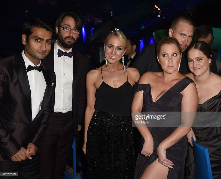 Actors Kumail Nanjiani and Martin Starr, comedians Nikki Glaser and Amy Schumer, and Kim Caramele attend HBO's Official 2016 Emmy After Party at The Plaza at the Pacific Design Center on September 18, 2016 in Los Angeles, California.