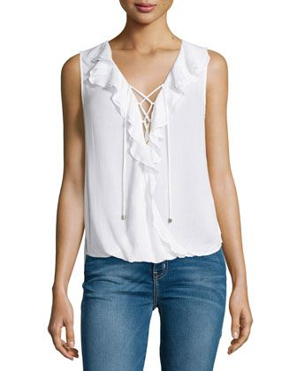 Sleeveless+Lace-Up+Ruffle+Top,+White+by+Ella+Moss+at+Neiman+Marcus.