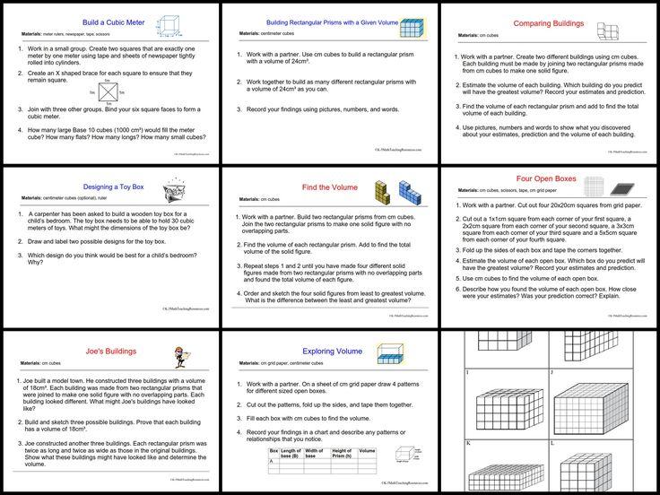 Volume Math Centers/ 5.MD.C.3, 5.MD.C.4, 5MD.C.5