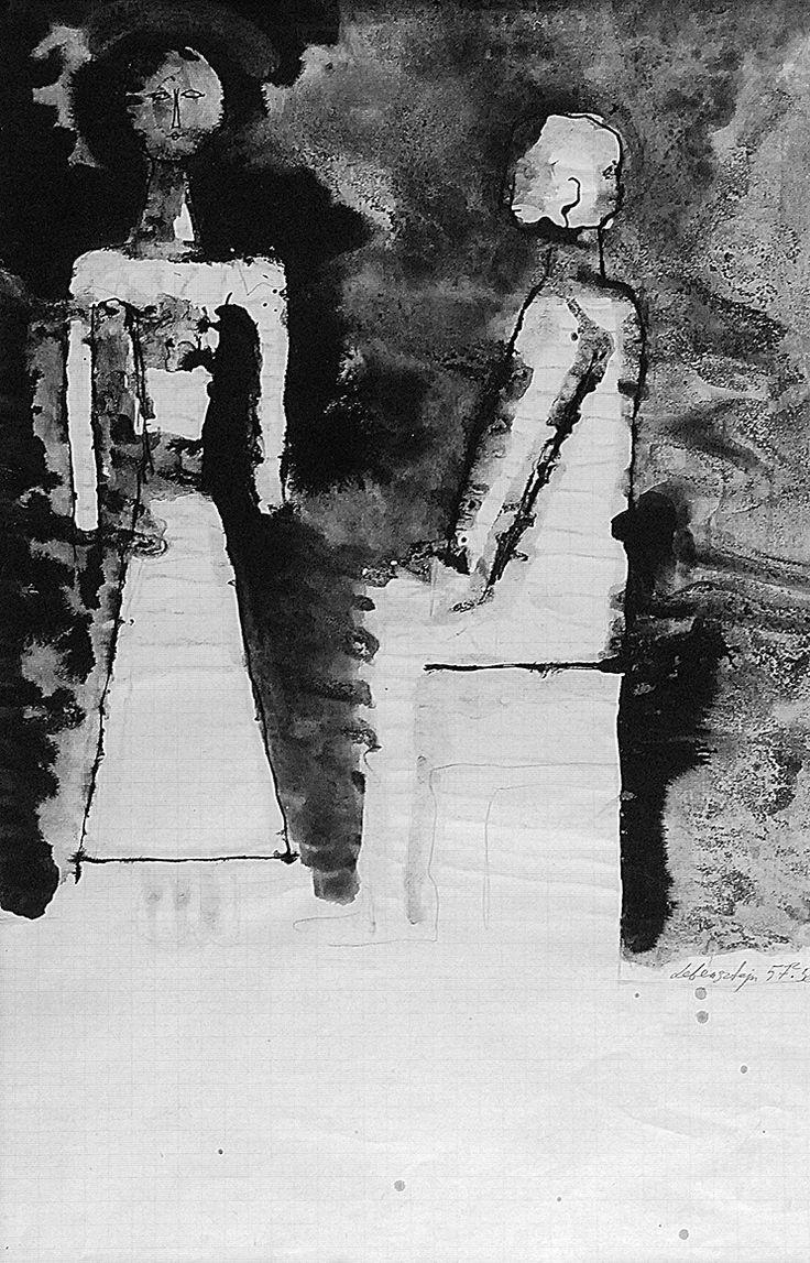 Jan LEBENSTEIN (1930-1999)  Figury, 1957-1958 ołówek, tusz, piórko, tusz lawowany, papier milimetrowy; 55 x 34,5 cm (w świetle oprawy); sygn. i dat. p. d.: Lebenstein 57-58