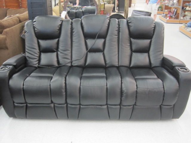 85 X 36 X 43 Black Bonded Leather Sofa With Dual Power