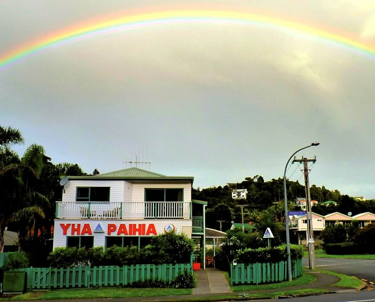 Rainbow over the YHA Hostel in the Bay of Islands