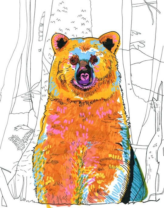 """Bear"" by Marina Gerosa on #INPRNT - #illustration #print #poster #art #colorful #bright #colors #happy #bear #nature #pop #orange #yellow #fresh #white"