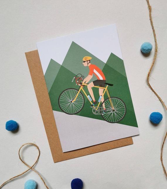 Cycling Birthday Card Cycling Card Bike Birthday Card Etsy Birthday Cards Birthday Cards For Men Good Luck Cards