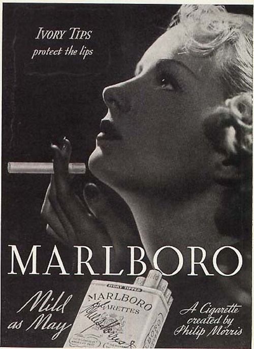 1930's Marlboro ad for women | 'ivory tips protect the lips'