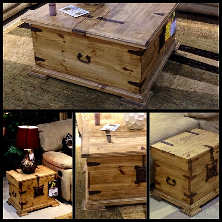 Antique Trunk Style Coffee Table And End Tables