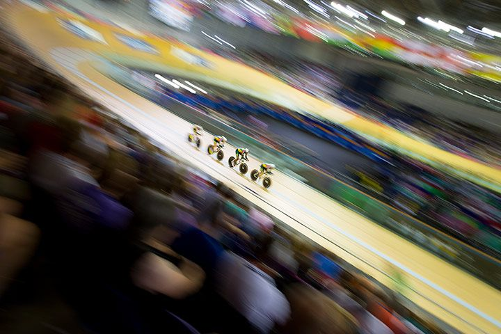 "Credit: Tom Jenkins for the Guardian Photographer Tom Jenkins is covering the Commonwealth Games for us and you can keep up-to-date with his images <a href=""http://www.theguardian.com/profile/tomjenkins"">here</a>.<br/>This picture shows the South African men's team pursuit riders at the Sir Chris Hoy velodrome in Glasgow."