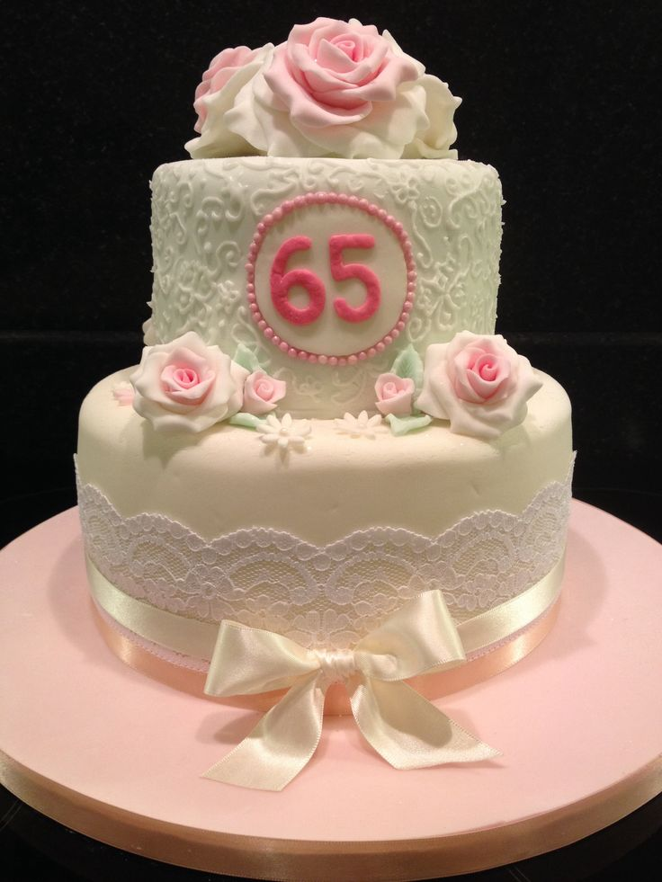 65th Birthday Cake Subtle Pastel Colours Birthday Cakes