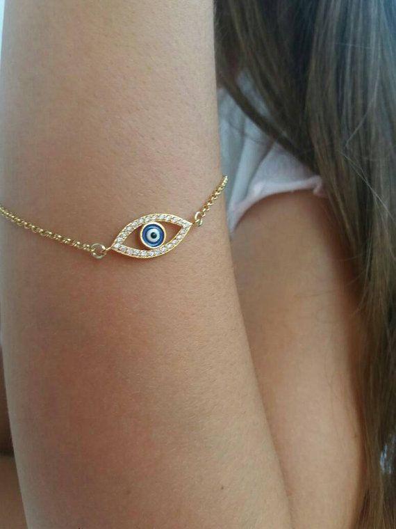 Boze oog armband goud zirkoon armband giften door JewelryFamousWorld