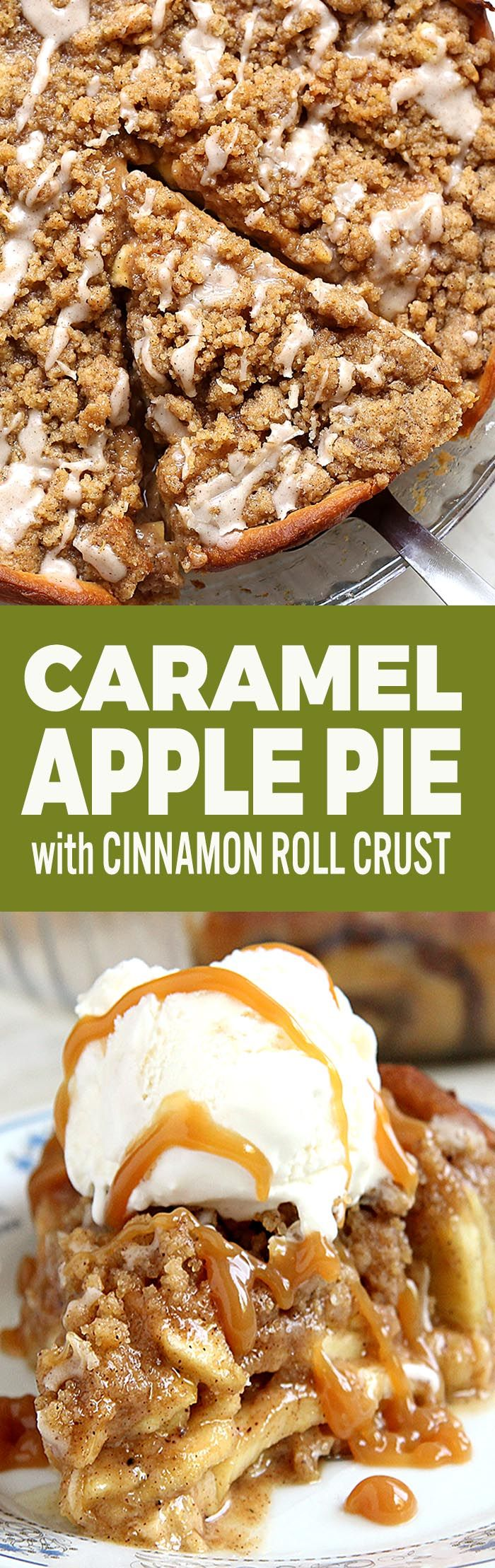 Delicious Cinnamon Roll Apple Pie that uses homemade apple pie filling, refrigerated cinnamon rolls, and crumb topping to create a delectable, easy FALL Dessert.