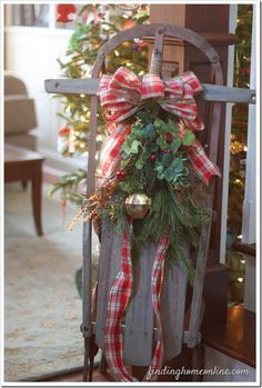 children's vintage sled decorated for christmas - Google Search