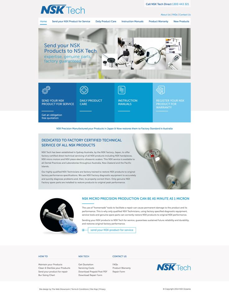 NSK Tech is a manufacturer of high quality dental products including dental hand pieces. This website is for dentists to book maintenance & repairs through the website easily. http://www.nsktech.com.au #webdesign #sydney #dental