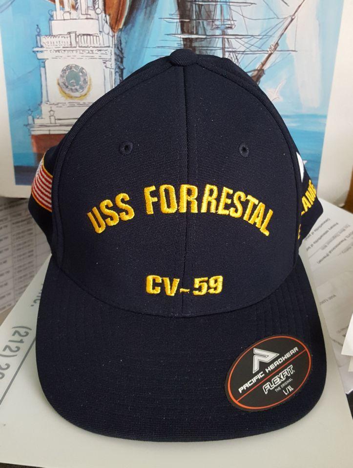 USS FORRESTAL CV-59 FITTED BALL CAP FT  9b78cae7bfc