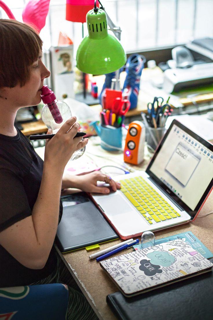 workspace, office, desk, workplace, workshop, bobble pinkflamingo, chair, interior, interior design, photo: Zenja blog