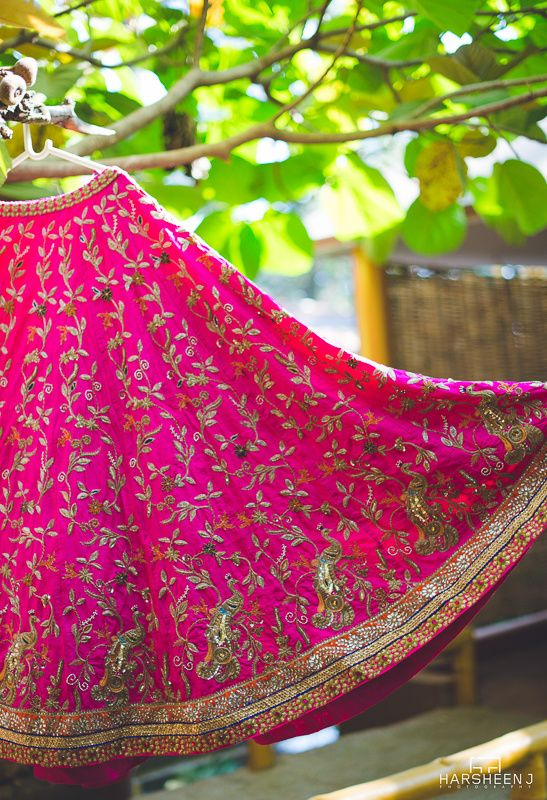 Sangeet Lehengas - Bright pink silk lehenga with all over embroidery | WedMeGood #lehenga #wedmegood #indianbride #pink