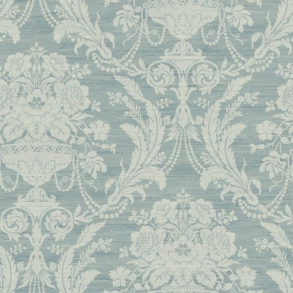 Beacon House by Brewster 302-66886 Ornament Grey Damask Motif Wallpaper