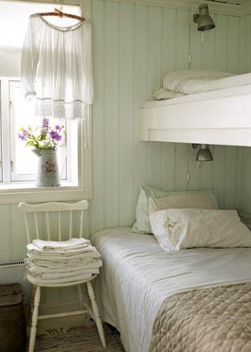 This room could be used for boys or girls.   Great idea in a small room, or cottage.