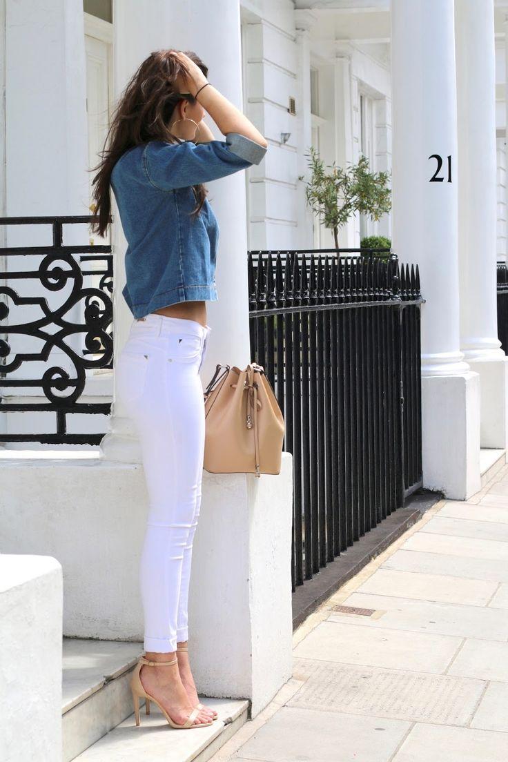 bucket bag daisy street denim denim jacket double denim fashion heels nude public desire river island strappy heels summer white jeans zara