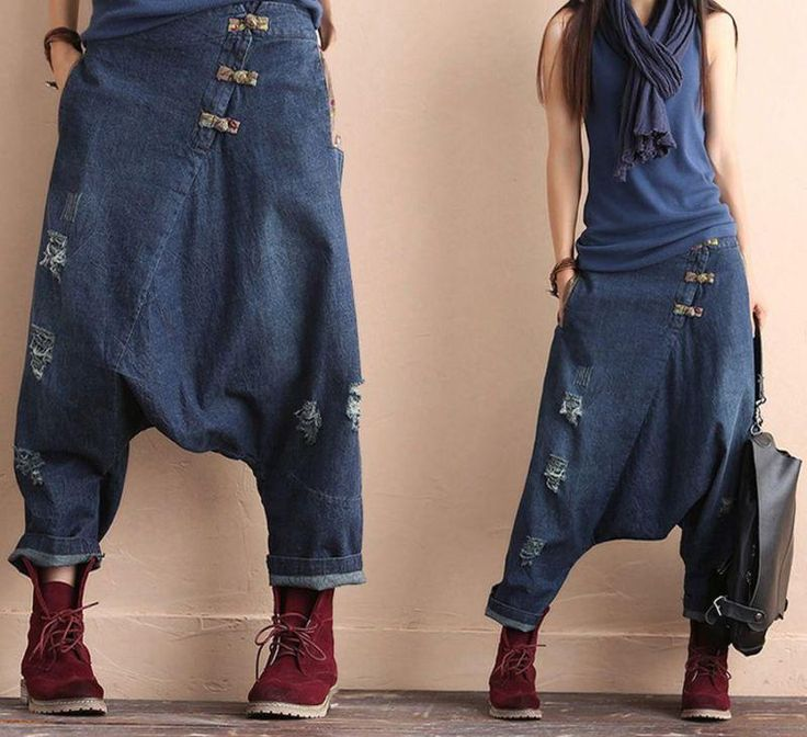 New Vintage Casual Chinese Womens 100% Cotton Jeans Halan Pants Loose fit street