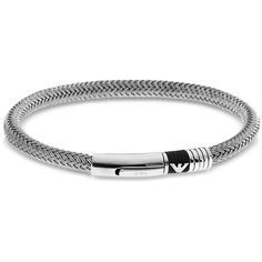 Emporio Armani Men's Bracelets Iconic Woven Stainless Steel Men's... (194 CAD) ❤ liked on Polyvore featuring men's fashion, men's jewelry, men's bracelets, silver, mens watches jewelry, mens leather braided bracelets, mens tribal bracelets, mens woven bracelets and mens stainless steel bracelets