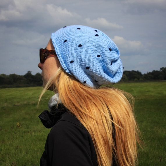 Light Blue Polka Slouchy Beanie Hat / Fall Winter by RUKAMIshop