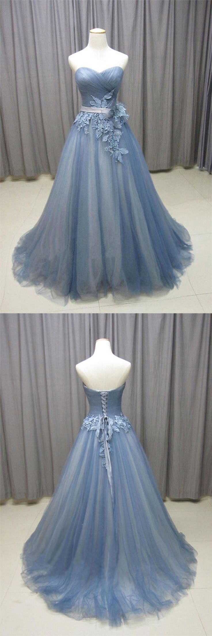 Gray blue sweetheart neck tulle long prom dress, gray evening dress, gray wedding