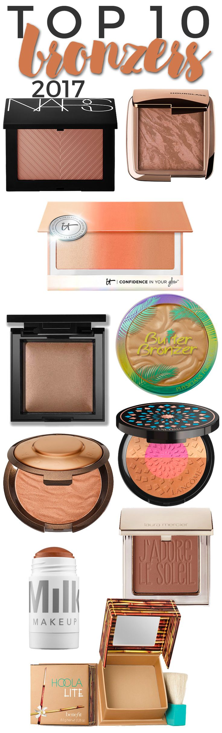 I use bronzer every day to warm up my skin tone and overall makeup look,  but when it comes to the summer months, I use more bronzer to add a  sun-kissed look to my skin. I depend on different bronzers to give me a  different look, depending on the rest of my makeup or the occasion. These  are t