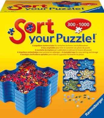 Ravensburger Puzzle Sort Trays Jigsaw Accessories Storage. With our new Sort Your Puzzle! you can take your puzzle with you wherever you go, visiting the family or on holidays! Sort puzzle pieces by colour, link the trays for easy viewing, stack the trays for compact organisation and store trays in the box for transport. http://www.gameoz.com.au/accessories/ravensburger-puzzle-sort-trays-jigsaw-accessories-storage.html