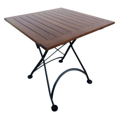 Furniture Designhouse French Cafe Bistro Square Metal Folding Patio Dining Table with Chestnut Wood Top - 4114CW-BK
