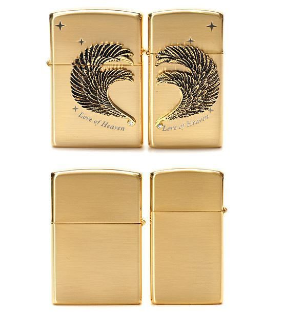 S Swan Love Couple Gold Zippo Lighter Gift Made in USA GENUINE ORIGINAL Packing