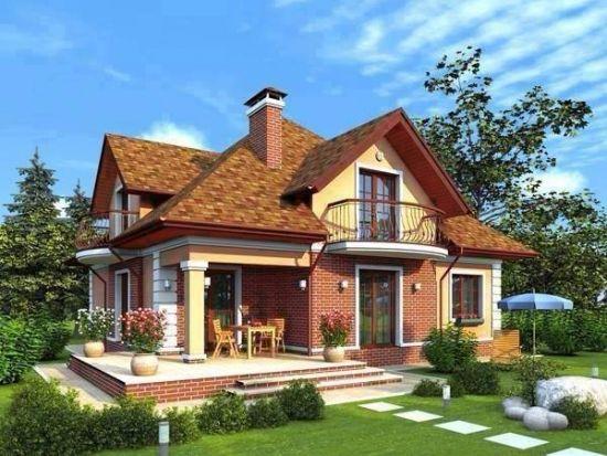 Fatada casa cu etaj placata cu caramida rosie aparenta