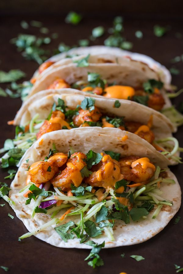 These chipotle shrimp tacos are the perfect balance of sweet and spicy. Flour tortillas topped with tangy broccoli slaw, spicy shrimp and flavorful gochujang mayonnaise.