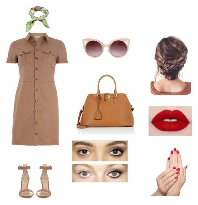 """vintage brown"" by aasti3638 on Polyvore featuring mel, Gianvito Rossi, Gucci, Maison Margiela, WithChic, Piggy Paint, Charlotte Tilbury and vintage"