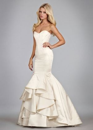 Sweetheart Mermaid Wedding Dress  with Dropped Waist in Silk Satin. Bridal Gown Style Number:32865446