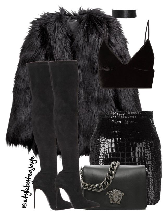"""""""Untitled #2589"""" by stylebyteajaye ❤ liked on Polyvore featuring H&M, T By Alexander Wang, Yves Saint Laurent, Versace and Le Silla"""