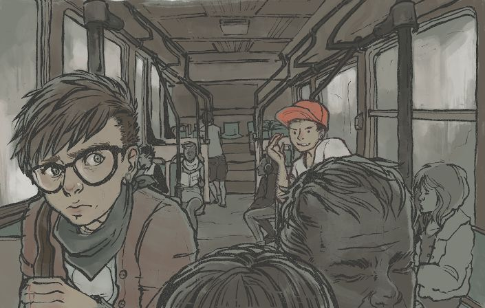 Illustration of a person on a bus looking scared as another person taunts them