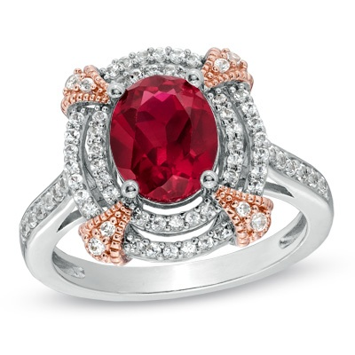 Zales Princess-Cut Lab-Created Ruby and White Sapphire Chevron Ring in Sterling Silver F4W9jYgZt