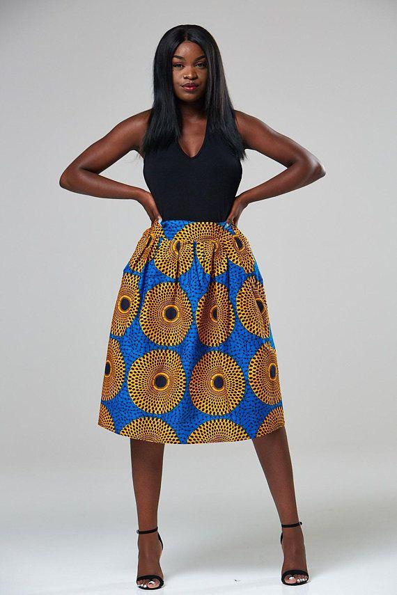 Afrikaanse hoge taille rok Afrikaanse rok Ankara rok midi