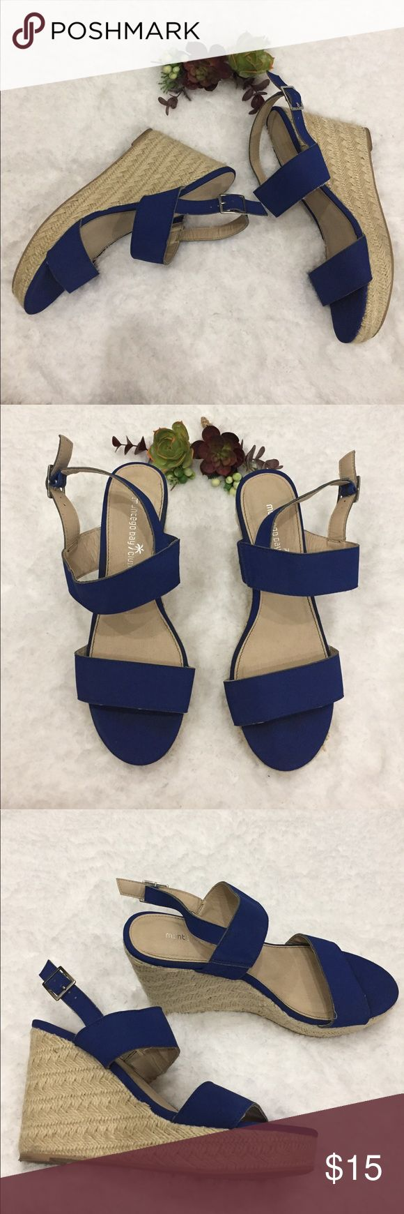 """Super comfy royal blue wedges Super comfy royal blue wedges. Preloved in excellent condition. These are all manmade. Wedge is 4.5"""" in the back with awesome support of a full 1"""" wedge in the front. Shoes Wedges"""
