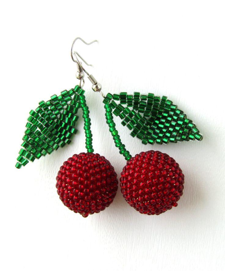 Beaded Cherry Earrings